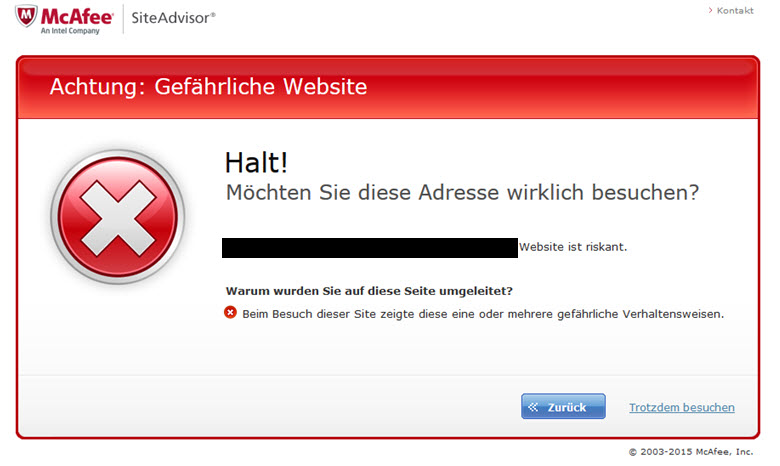 McAfee Website Warnung