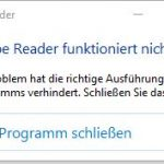 Adobe Reader 11 Crash Meldung