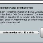 HomeMatic CCU2 Anlernen Countdown