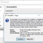 VirtualBox Zusatzpaket Extension Pack Install