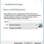 VitualBox Name und Betriebssystem