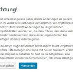 WordPress 4.9 Warnung bei Liveänderung