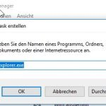 Windows 10 1709 Task explorer.exe starten