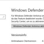 Microsoft Defender Version anzeigen
