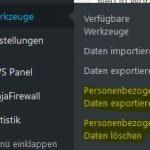 WordPress 4.9.6 personenbezogene Daten