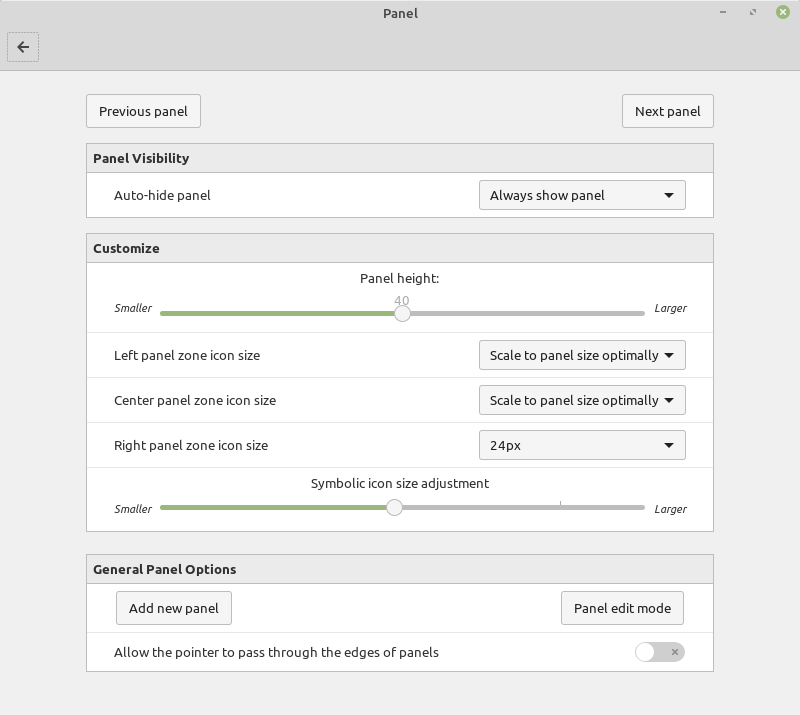 Linux Mint 19.1 Panel Settings