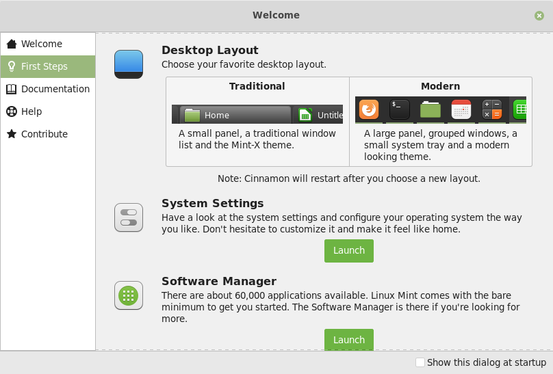 Linux Mint 19.1 Desktop Layout