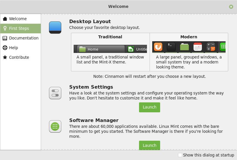 Linux Mint 19.1 Desktop Layout