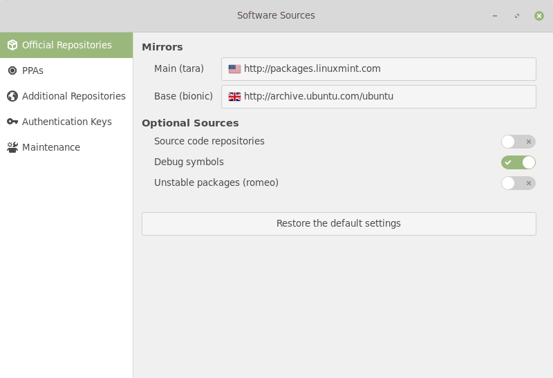 Linux Mint 19.1 Software Sources