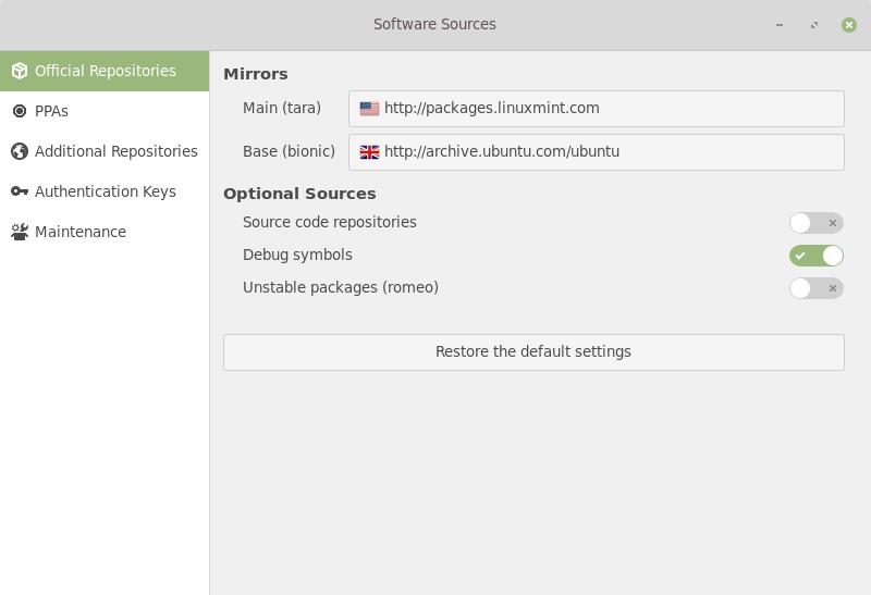 Linux Mint 19.1 Software Sources