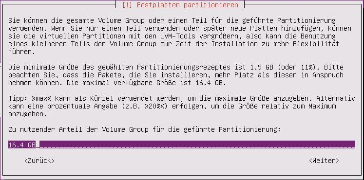 Ubuntu Server Installation - Ubuntu Server Installation - Partitionierung