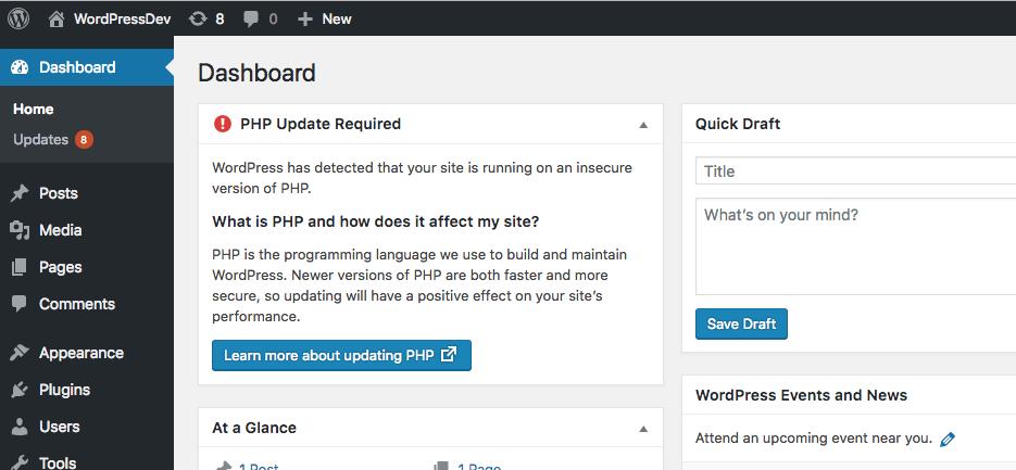 WordPress 5.1 PHP Control