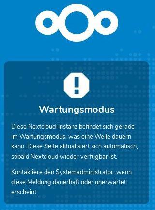 Nextcloud - UI Wartungsmodus