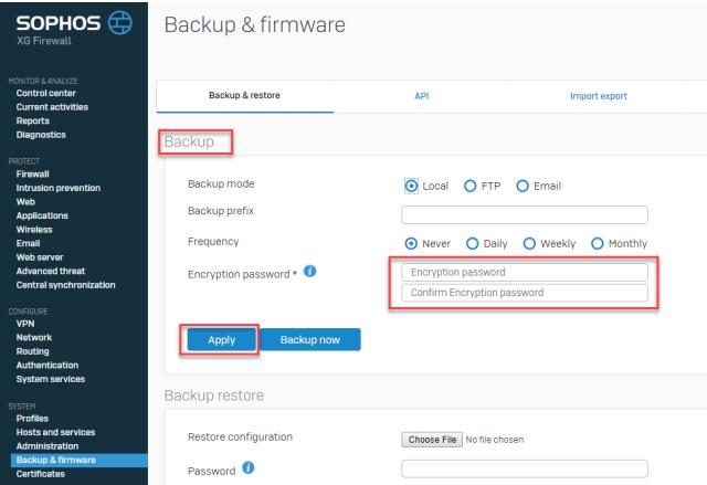 Sophos XG 17.5 Backup Encryption