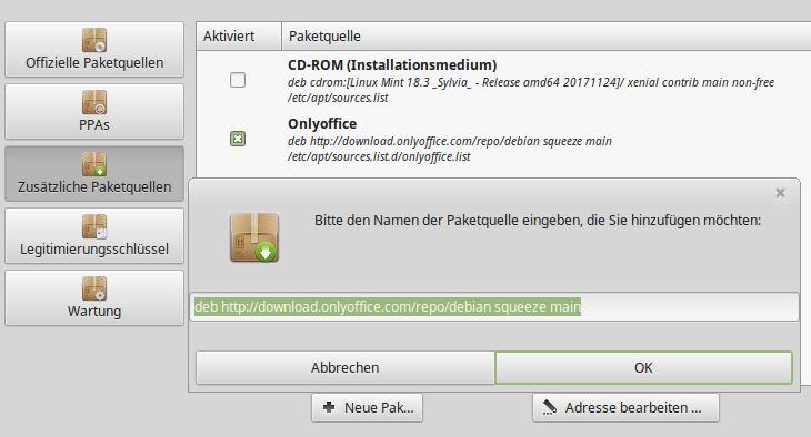 LinuxMint Paketquelle OnlyOffice