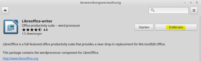 LinuxMint Anwendungsverwaltung LibreOffice entfernen
