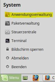 LinuxMint Startmenü Anwendungsverwaltung