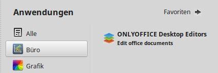LinuxMint Startmenü Anwendungen OnlyOffice