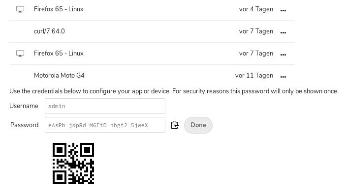 Nextcloud 16 App Config QR-Code