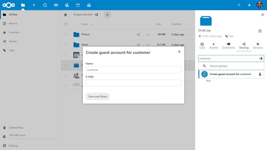 Nextcloud 16 Guest App Account