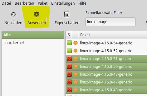 Linux Mint Paketverwaltung Kernel Remove