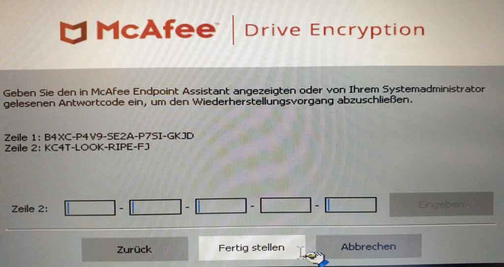 McAfee Preboot Recovery