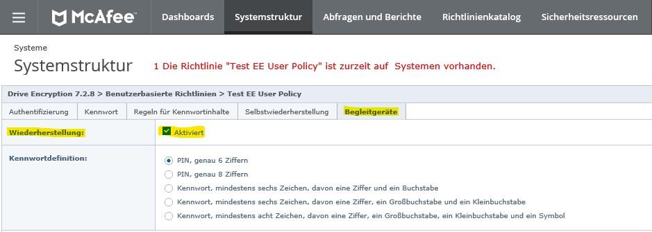 McAfee ePO Richtlinie Benutzer Begleitgeräte