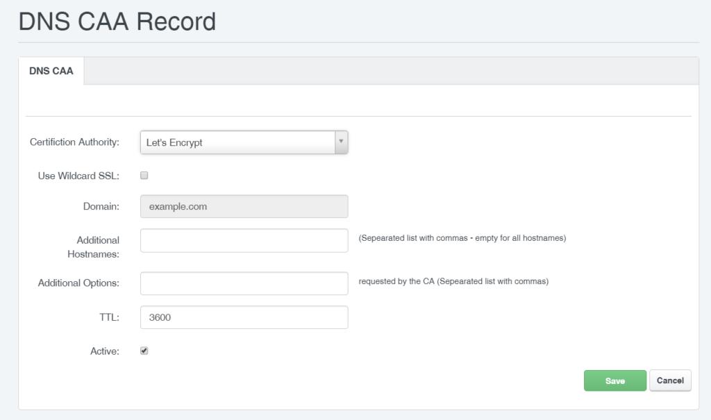 ISPConfig CAA Record