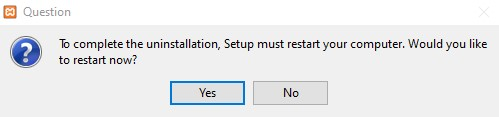 XAMPP Deinstall Reboot