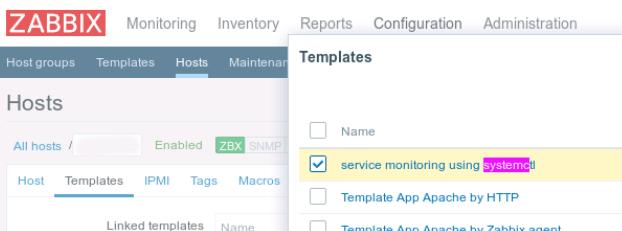 Zabbix Host add Template