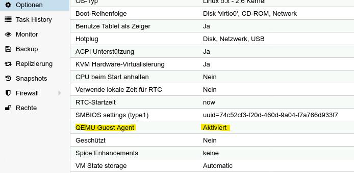 ProxmoxVE VM Option Guest Agent
