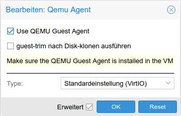ProxmoxVE QEMU Guest Agent Enable