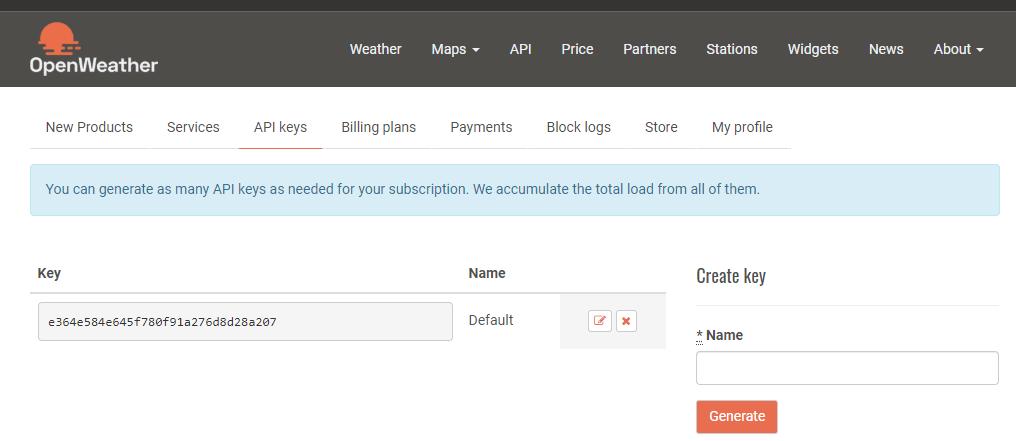 OpenWeather API Key