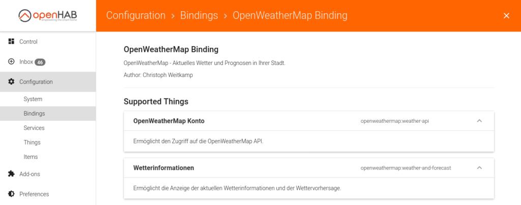 openHAB Binding OpenWeatherMap Konfig