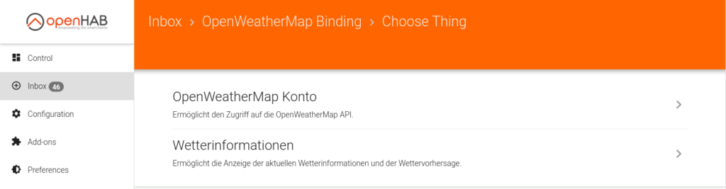 openHAB Things OpenWeather Map