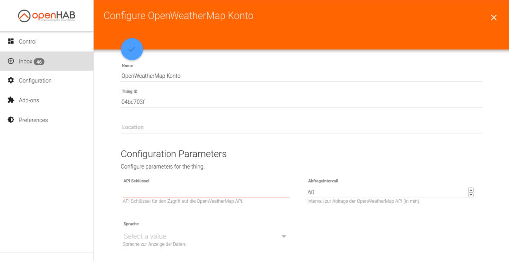 openHAB Things OpenWeather Map API