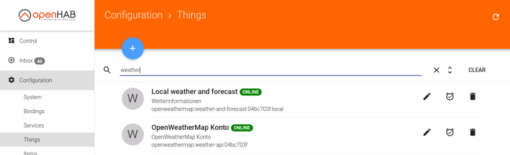 openHAB - OpenWeatherMap Things