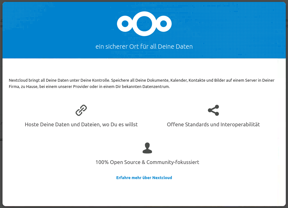 Nextcloud Welcome Wizard Step2