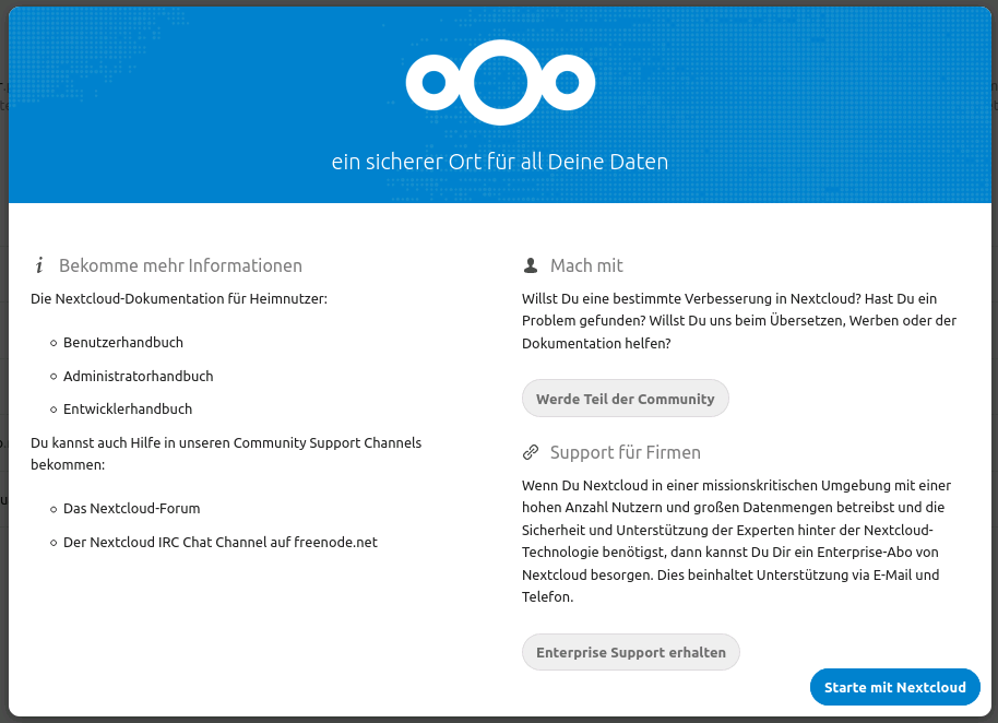 Nextcloud Welcome Wizard Step4