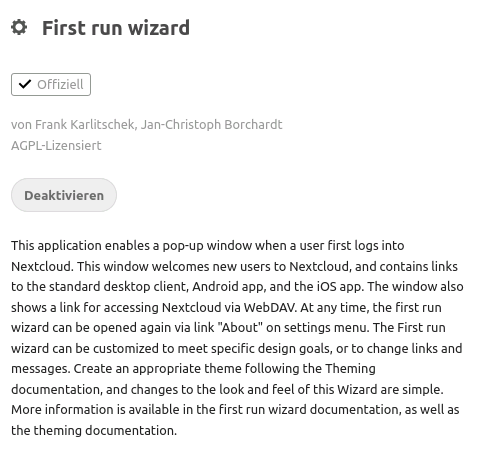 Nextcloud App First run wizard