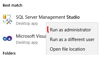 MS SQL Studio Run as Admin