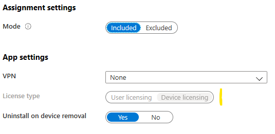 Intune App Licensing Typ