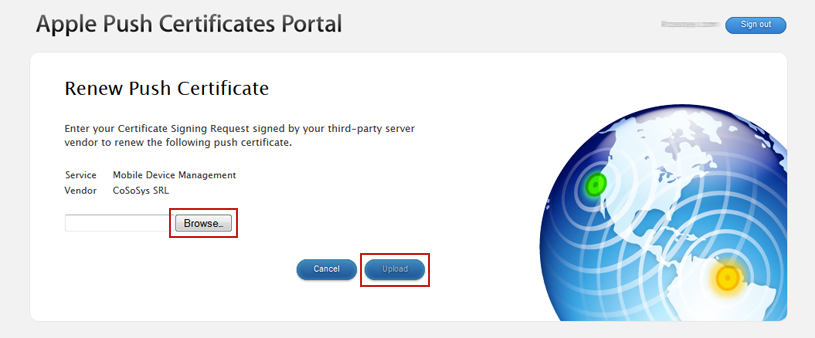 Apple Push Portal - Upload Cert