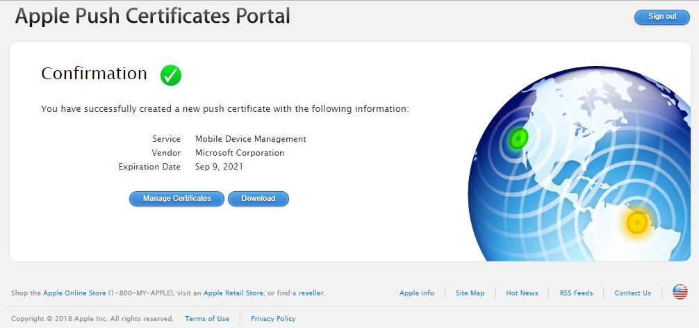 Apple Push Certificat Success