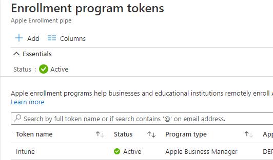 Intune - Apple Enrolment Token