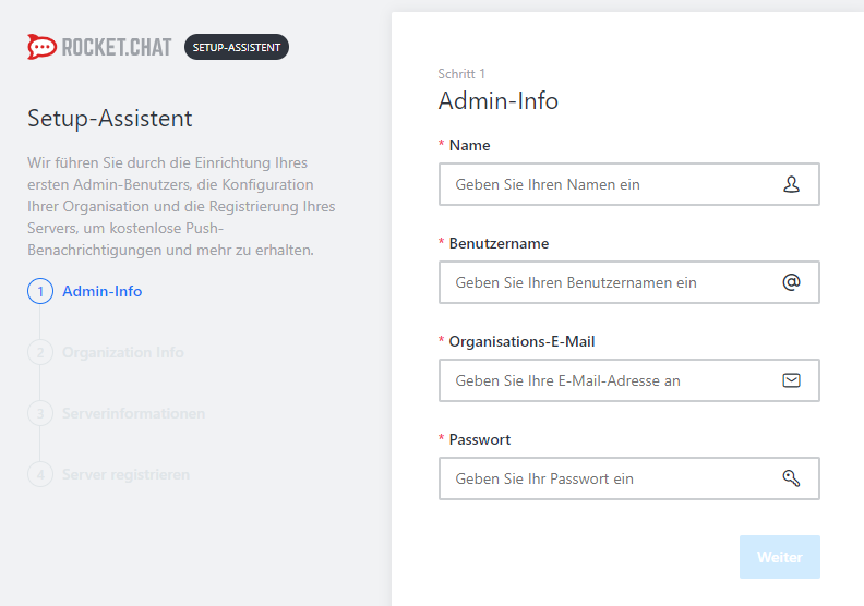 Rocket.Chat - Setup Admin