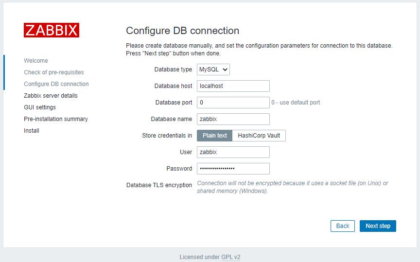 Zabbix 5.2 - Install - DB Config