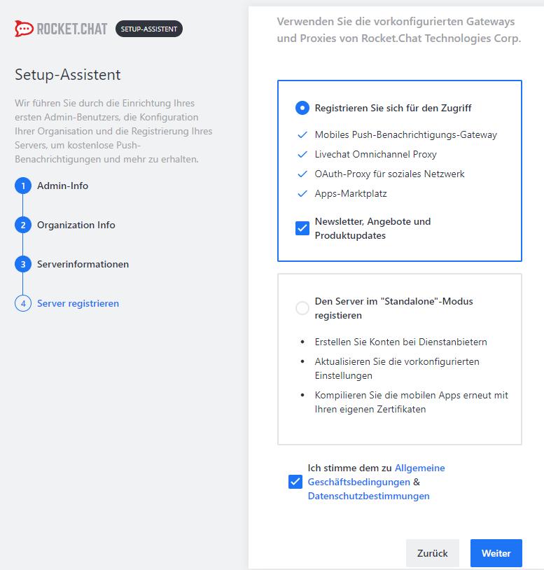 Rocket.Chat - Setup Serverregistrierung