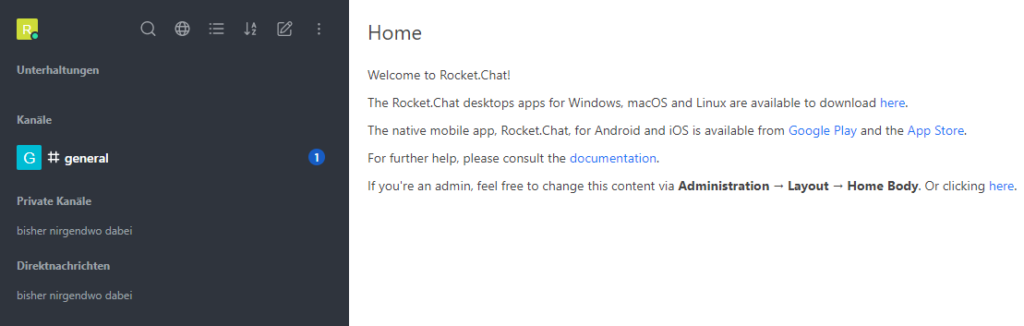 Rocket.Chat - First Run