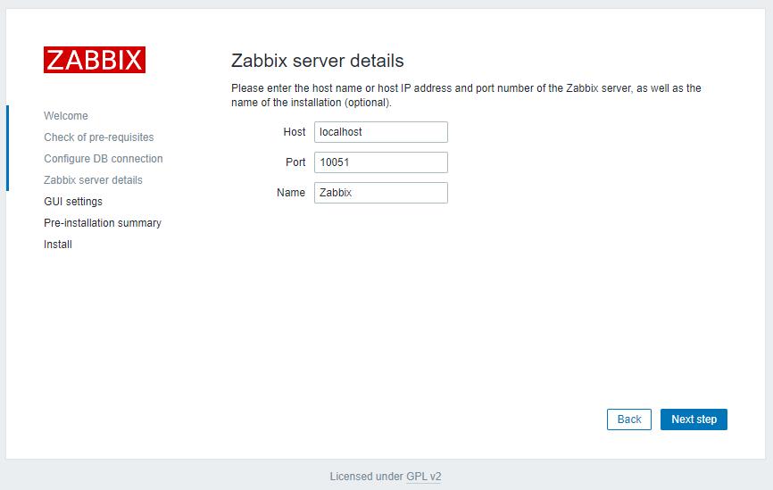 Zabbix 5.2 - Install Server Details